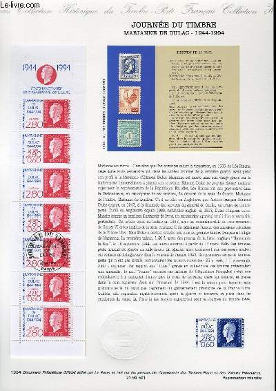 DOCUMENT PHILATELIQUE OFFICIEL - CARNET JOURNEE DU TIMBRE - MARIANNE DE DULAC - 1944 - 1994 (N°2865 YVERT ET TELLIER)