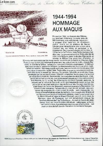 DOCUMENT PHILATELIQUE OFFICIEL - 1944-1994 - HOMMAGE AUX MAQUIS (N°287 YVERT ET TELLIER)
