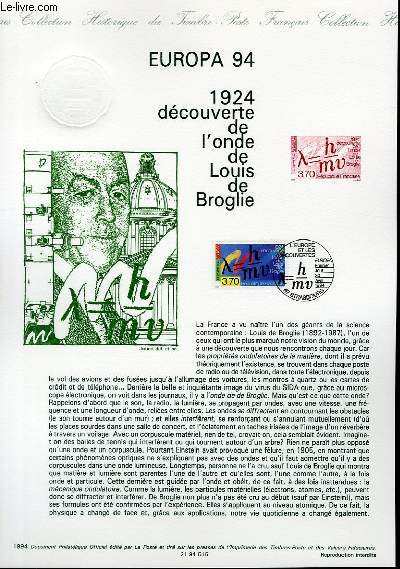 DOCUMENT PHILATELIQUE OFFICIEL - EUROPA 94 - 1924 DECOUVERTE DE L'ONDE DE LOUIS DE BROGLIE (N°2879 YVERT ET TELLIER)