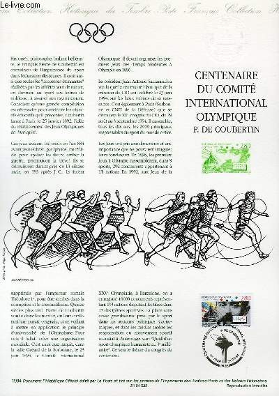 DOCUMENT PHILATELIQUE OFFICIEL - CENTENAIRE DU COMITE INTERNATIONAL OLYMPIQUE P. DE COUBERTIN (N°2889 YVERT ET TELLIER)