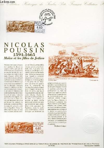 DOCUMENT PHILATELIQUE OFFICIEL - NICOLAS POUSSIN 1594-1665 - MOISE ET LES FILLES DE JETHRO (N°289 YVERT ET TELLIER)