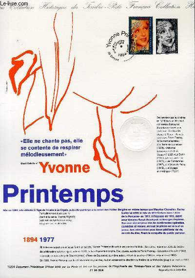 DOCUMENT PHILATELIQUE OFFICIEL - YVONNE PRINTEMPS 1894-1977 (N�2897 YVERT ET TELLIER)