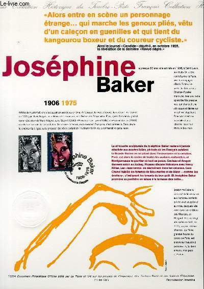 DOCUMENT PHILATELIQUE OFFICIEL - JOSEPHINE BAKER - 1906-1975 (N�2898 YVERT ET TELLIER)
