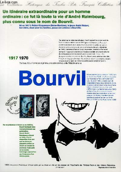 DOCUMENT PHILATELIQUE OFFICIEL - BOURVIL 1917-1970 (N�2900 YVERT ET TELLIER)