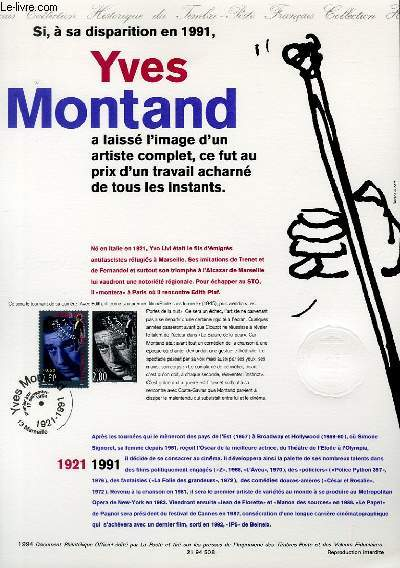 DOCUMENT PHILATELIQUE OFFICIEL - YVES MONTAND 1921-1991 (N°2901 YVERT ET TELLIER)