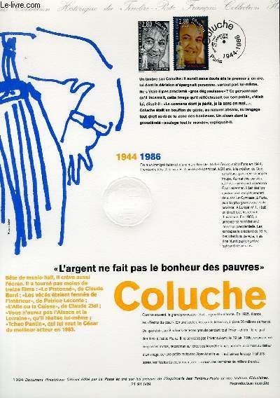 DOCUMENT PHILATELIQUE OFFICIEL - COLUCHE 1944-1986 (N�2902 YVERT ET TELLIER)