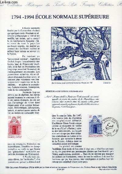 DOCUMENT PHILATELIQUE OFFICIEL - 1794-1994 ECOLE NORMALE SUPERIEURE (N�2907 YVERT ET TELLIER)