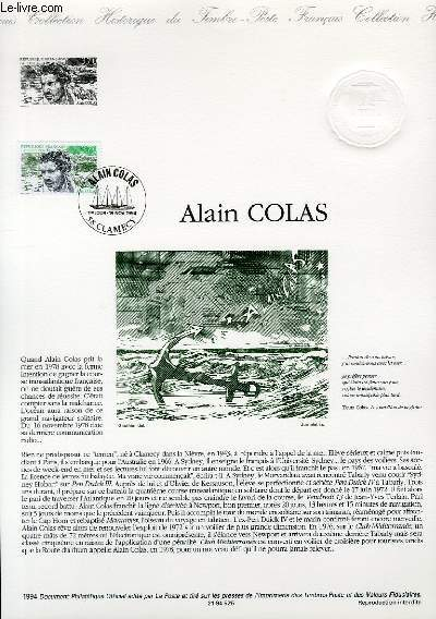 DOCUMENT PHILATELIQUE OFFICIEL - ALAIN COLAS (N°2913 YVERT ET TELLIER)