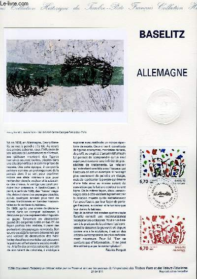 DOCUMENT PHILATELIQUE OFFICIEL - BASELITZ ALLEMAGNE (N°2914 YVERT ET TELLIER)