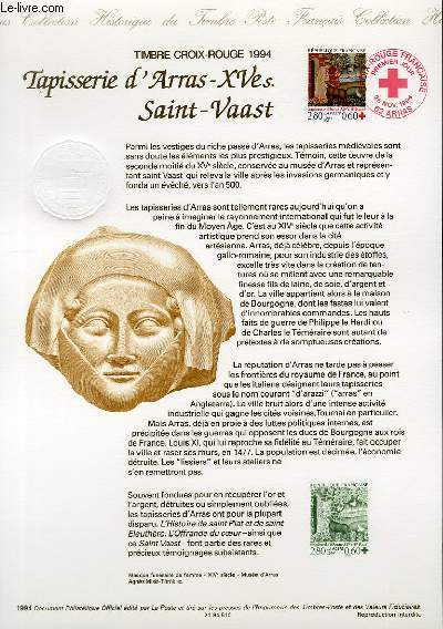 DOCUMENT PHILATELIQUE OFFICIEL - CROIX ROUGE - TAPISSERIE D'ARRAS SAINT-VAAST (N°2915 YVERT ET TELLIER)
