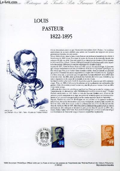 DOCUMENT PHILATELIQUE OFFICIEL - LOUIS PASTEUR 1822-1895 (N°2925 YVERT ET TELLIER)