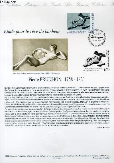 DOCUMENT PHILATELIQUE OFFICIEL - ETUDES POUR LE REVE DU BONHEUR PIERRE PRUD'HON 1758-1823 (N°292 YVERT ET TELLIER)