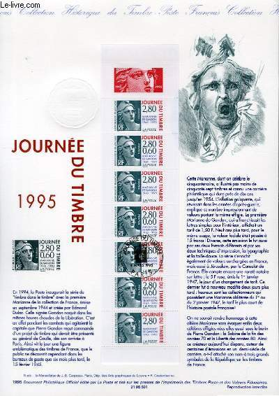 DOCUMENT PHILATELIQUE OFFICIEL - CARNET JOURNEE DU TIMBRE 1995 - MARIANNE DE GANDON 1945-1995 (N°2935 YVERT ET TELLIER)