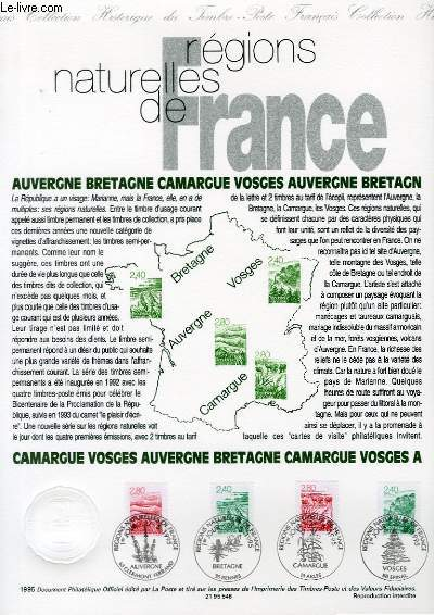 DOCUMENT PHILATELIQUE OFFICIEL - REGIONS NATURELLES DE FRANCE : AUVERGNE, BRETAGNE, CAMARGUE, VOSGES - TIMBRES SEMI-PERMANENTS (N°2949-2952 YVERT ET TELLIER)