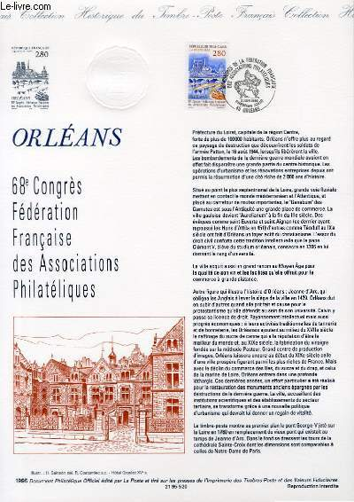 DOCUMENT PHILATELIQUE OFFICIEL - ORLEANS - 68° CONGRES FEDERATION FRANCAISE DES ASSOCIATIONS PHILATELIQUES (N°2953 YVERT ET TELLIER)