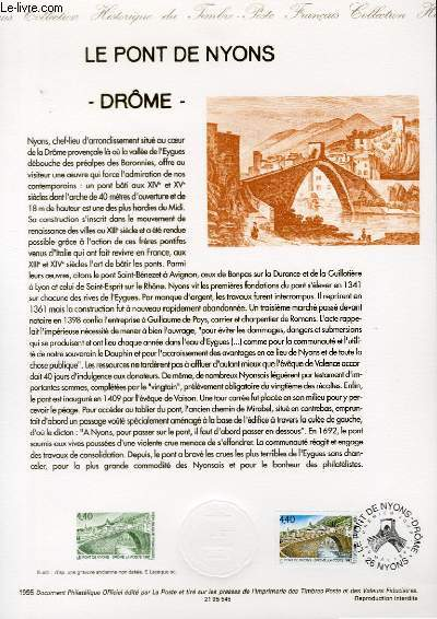 DOCUMENT PHILATELIQUE OFFICIEL - LE PONT DE NYONS DROME (N�2956 YVERT ET TELLIER)