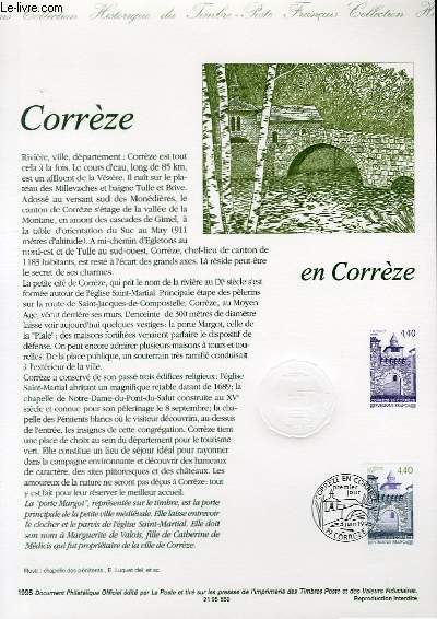DOCUMENT PHILATELIQUE OFFICIEL - CORRZEZ EN CORREZE (N�2957 YVERT ET TELLIER)