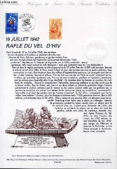 DOCUMENT PHILATELIQUE OFFICIEL - 16 JUILLET 1942 - RAFLE DU VEL D'HIV (N°2965 YVERT ET TELLIER)