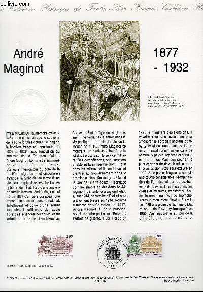DOCUMENT PHILATELIQUE OFFICIEL - ANDRE MAGINOT 1877-1932 (N°2966 YVERT ET TELLIER)