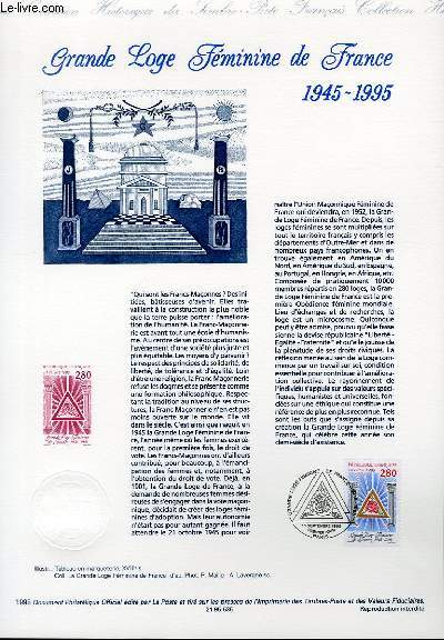 DOCUMENT PHILATELIQUE OFFICIEL - GRANDE LOGE FEMININE DE FRANCE 1945-1995 (N°2967 YVERT ET TELLIER)