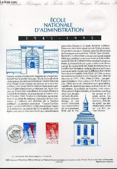 DOCUMENT PHILATELIQUE OFFICIEL - ECOLE NATIONALE D'ADMINISTRATION 1945-1995 (N°2971 YVERT ET TELLIER)
