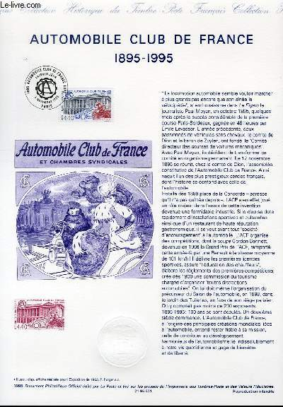 DOCUMENT PHILATELIQUE OFFICIEL - AUTOMOBILE CLUB DE FRANCE 1895-1995 (N�2974 YVERT ET TELLIER)