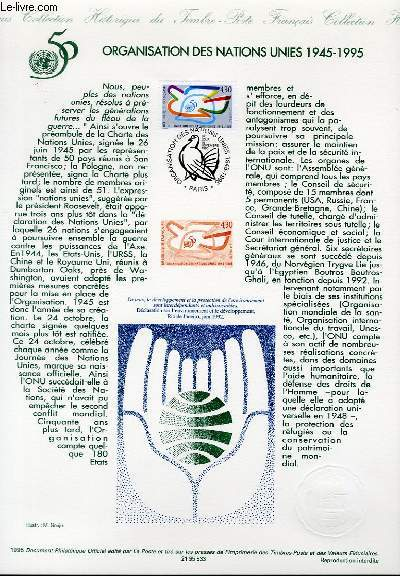DOCUMENT PHILATELIQUE OFFICIEL - ORGANISATION DES NATIONS-UNIES 1945-1995 (N°2975 YVERT ET TELLIER)