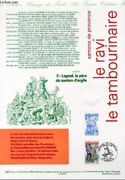 DOCUMENT PHILATELIQUE OFFICIEL - SANTONS DE PROVENCE - LE RAVI - LE TAMBOURINAIRE (N°2978 YVERT ET TELLIER)
