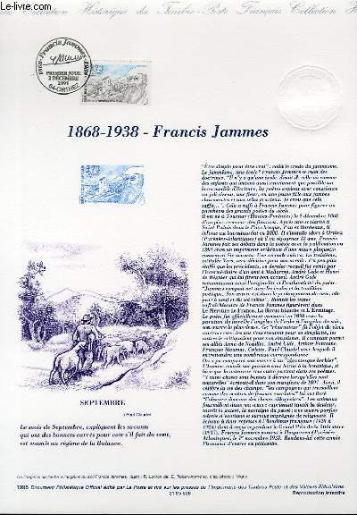 DOCUMENT PHILATELIQUE OFFICIEL - 1868-1938 - FRANCIS JAMMES (N°2983 YVERT ET TELLIER)