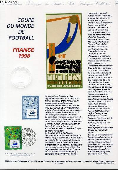 DOCUMENT PHILATELIQUE OFFICIEL - COUPE DU MONDE DE FOOTBALL - FRANCE 1998 (N�298 YVERT ET TELLIER)