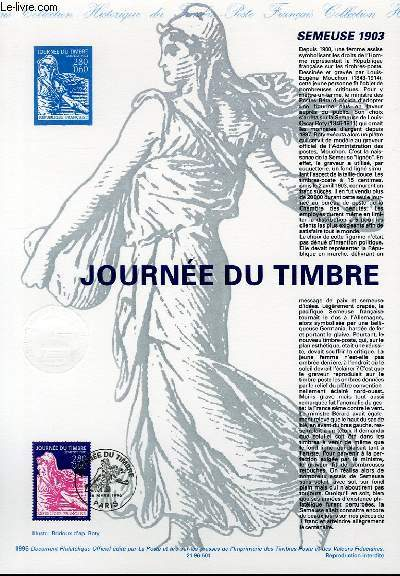 DOCUMENT PHILATELIQUE OFFICIEL - JOURNEE DU TIMBRE - SEMEUSE 1903 (N°2990 YVERT ET TELLIER)