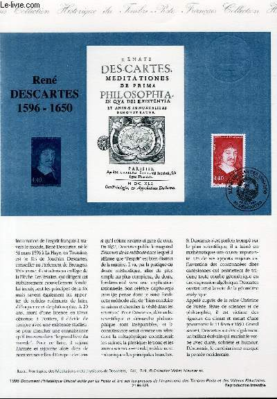 DOCUMENT PHILATELIQUE OFFICIEL - RENE DESCARTES 1596-1650 (N�2995 YVERT ET TELLIER)