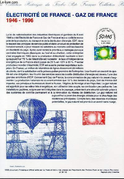 DOCUMENT PHILATELIQUE OFFICIEL - ELECTRICITE DE FRANCE - GAZ DE FRANCE 1946-1996 (N°2996 YVERT ET TELLIER)