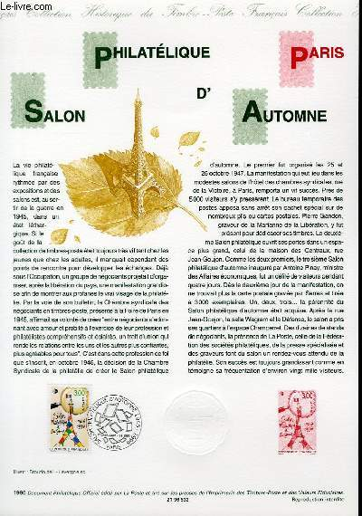 DOCUMENT PHILATELIQUE OFFICIEL - PHILATELIQUE SALON D'AUTOMNE PARIS (N°3000 YVERT ET TELLIER)
