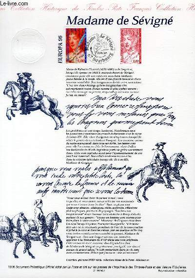 DOCUMENT PHILATELIQUE OFFICIEL - EUROPA - MADAME DE SEVIGNE (N°3000A YVERT ET TELLIER)