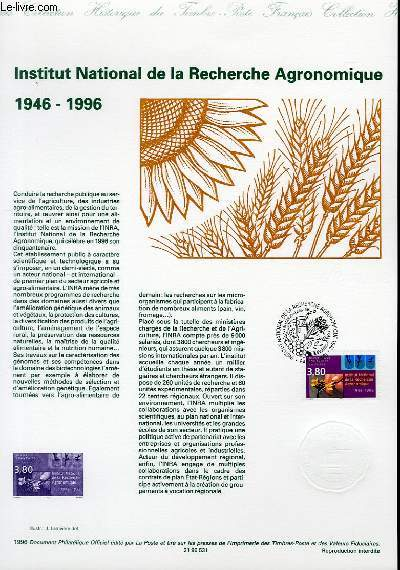 DOCUMENT PHILATELIQUE OFFICIEL - INSTITUT NATIONNAL DE LA RECHERCHE AGRONOMIQUE 1946-1996 (N°3001 YVERT ET TELLIER)