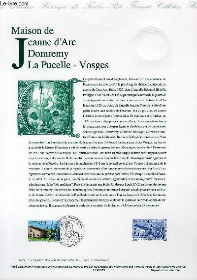 DOCUMENT PHILATELIQUE OFFICIEL - MAISON DE JEANNE D'ARC DOMREMY LA PUCELLE - VOSGES (N°3002 YVERT ET TELLIER)