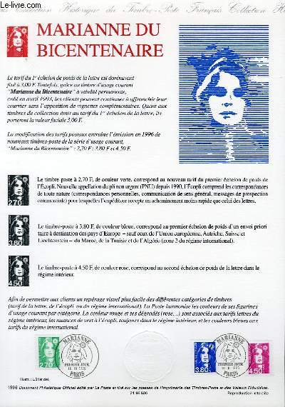 DOCUMENT PHILATELIQUE OFFICIEL - MARIANNE DU BICENTENAIRE (N°3005-3007 YVERT ET TELLIER)