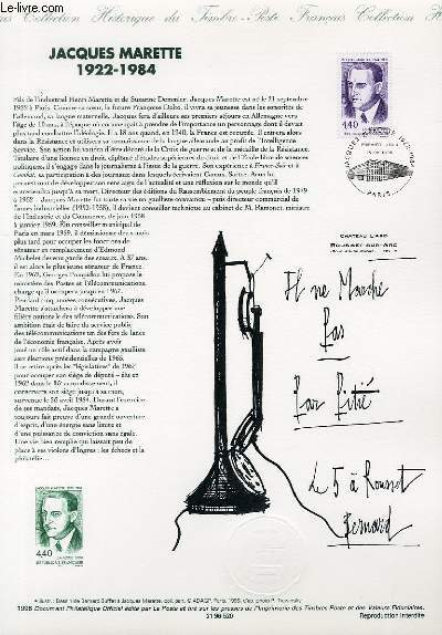DOCUMENT PHILATELIQUE OFFICIEL - JACQUES MARETTE 1922-1984 (N°3015 YVERT ET TELLIER)