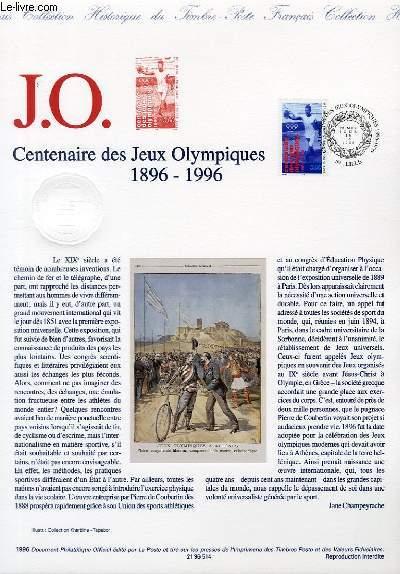 DOCUMENT PHILATELIQUE OFFICIEL - J.O. CENTENAIRE DES JEUX OLYMPIQUES 1896-1996 (N°3016 YVERT ET TELLIER)