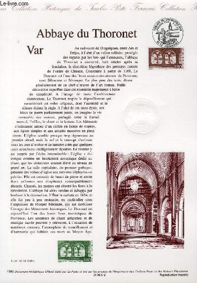 DOCUMENT PHILATELIQUE OFFICIEL - ABBAYE DU THORONET VAR (N�3020 YVERT ET TELLIER)