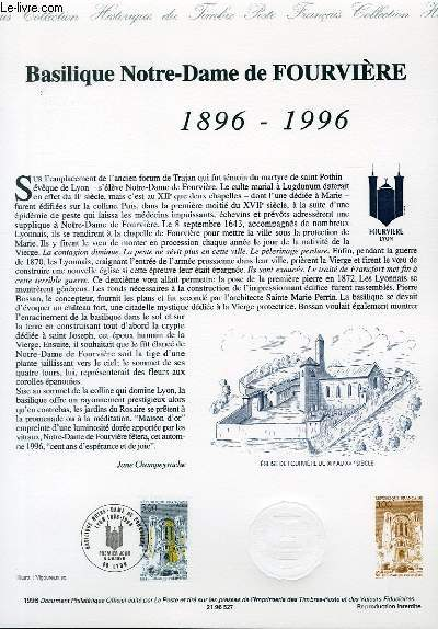 DOCUMENT PHILATELIQUE OFFICIEL - BASILIQUE NOTRE DAME DE FOURVIERE 1896-1996 (N�3022 YVERT ET TELLIER)