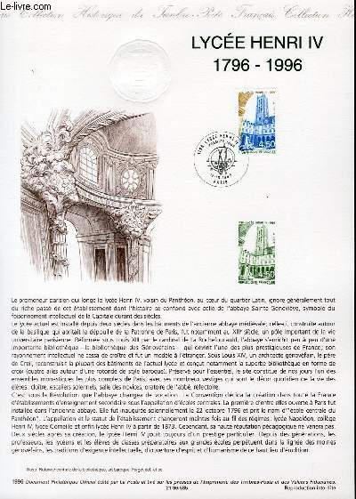 DOCUMENT PHILATELIQUE OFFICIEL - LYCEE HENRI IV 1796-1996 (N°303 YVERT ET TELLIER)