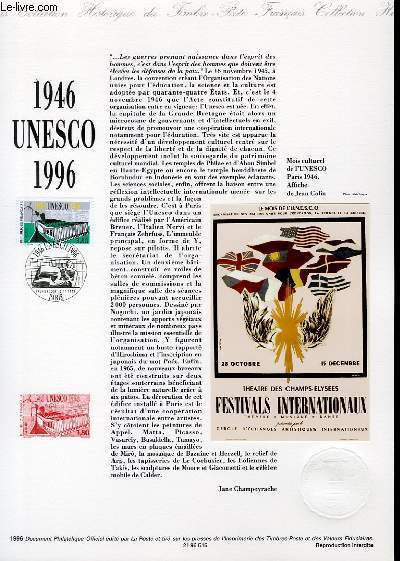 DOCUMENT PHILATELIQUE OFFICIEL - 1946 UNESCO 1996 (N°3035 YVERT ET TELLIER)