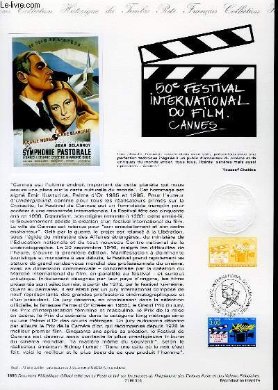 DOCUMENT PHILATELIQUE OFFICIEL - 50° FESTIVAL INTERNATIONAL DU FILM CANNES (N°3040 YVERT ET TELLIER)