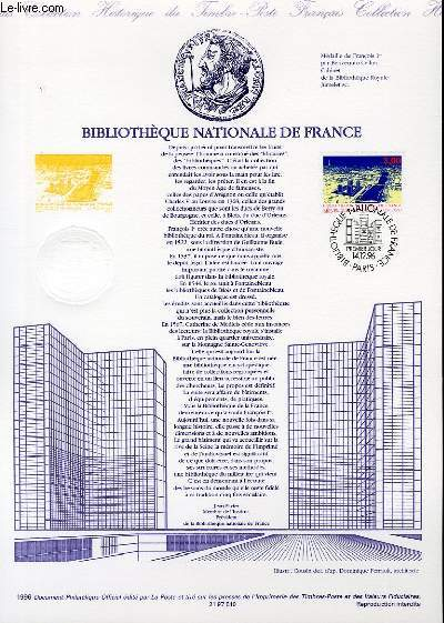 DOCUMENT PHILATELIQUE OFFICIEL - BIBLIOTHEQUE NATIONALE DE FRANCE (N°3041 YVERT ET TELLIER)