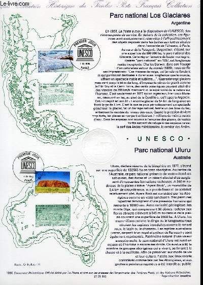 DOCUMENT PHILATELIQUE OFFICIEL - UNESCO - PARC NATIONAL LOS GLACIARES ARGENTINE - PARC NATIONAL ULURU AUSTRALIE (SERVICE 114 115 YVERT ET TELLIER)