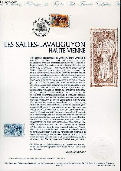 DOCUMENT PHILATELIQUE OFFICIEL - LES SALLES LAVAUGUYON HAUTE VIENNE (N°3082 YVERT ET TELLIER)
