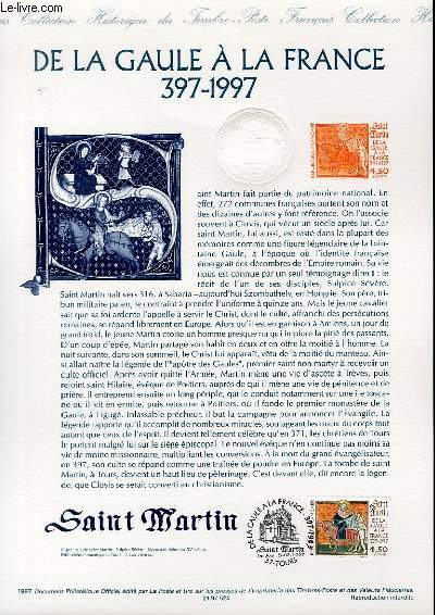 DOCUMENT PHILATELIQUE OFFICIEL - DE LA GAULE A LA FRANCE 397-1997 - SAINT MARTIN (N�3078 YVERT ET TELLIER)
