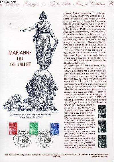 DOCUMENT PHILATELIQUE OFFICIEL - MARIANNE DU 14 JUILLET (N°3083-3091-3095 YVERT ET TELLIER)